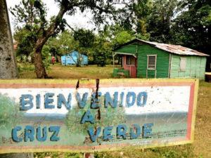 Entrance to Victoria Santos' Village – Cruz Verde, in the Dominican Republic.
